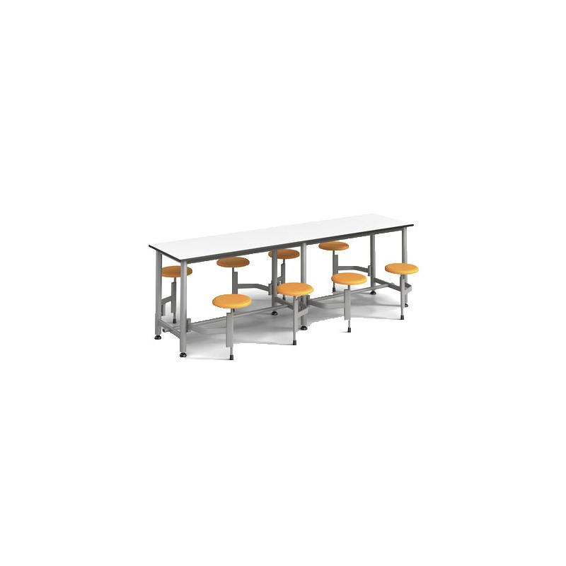 8位多层板固定圆凳餐桌