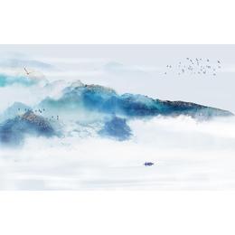 中国风蓝色水墨山水电视瓷板挂画