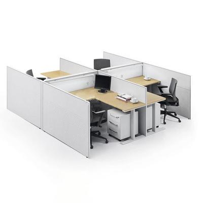 四人位塑料屏风办公桌