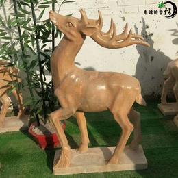 石雕小鹿 汉白玉大理石小鹿 公园石头鹿雕塑