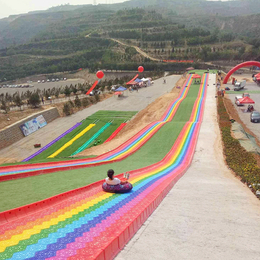 遊樂場大型無動力設備彩虹滑梯旱雪滑道七彩滑道