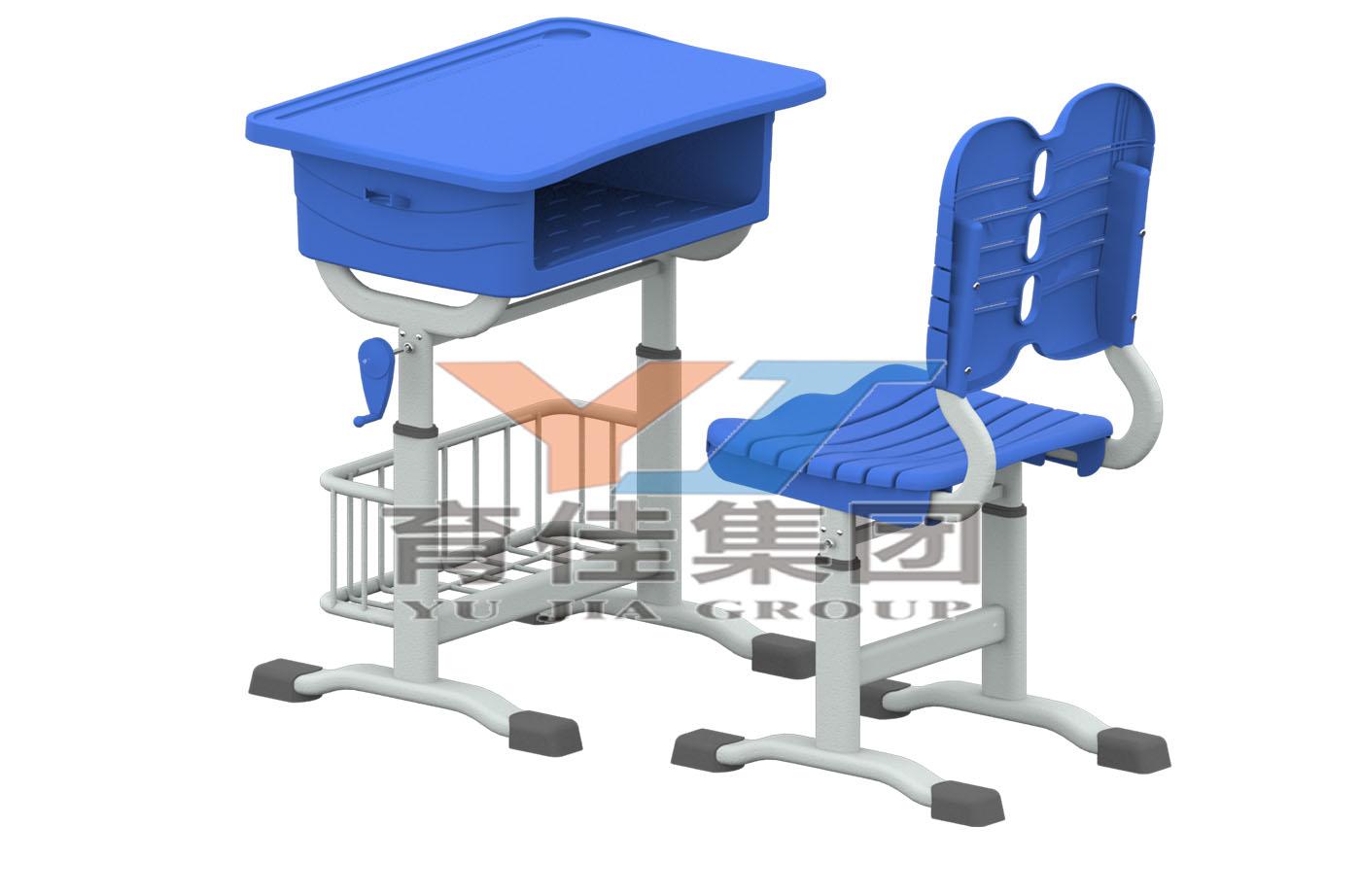 手搖升降課桌椅(帶籃子)