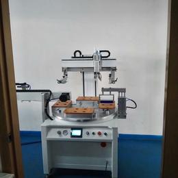 手机壳丝印机东莞优远2030P手机电池平面转盘丝网印刷机